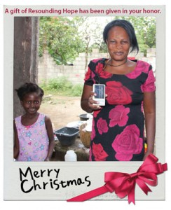 Resounding Hope Christmas Honor Card sample